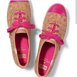 Kate Spade Keds Cork Pink Toe Accent Sneaker Sz7.5